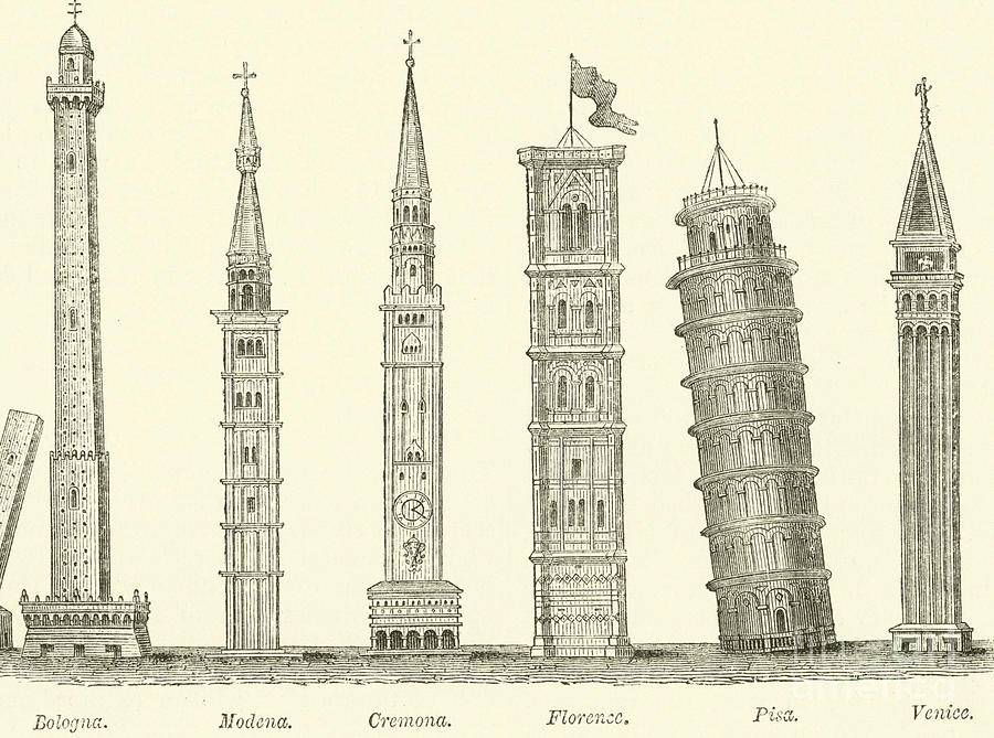 The Seven Great Towers Drawing By English School