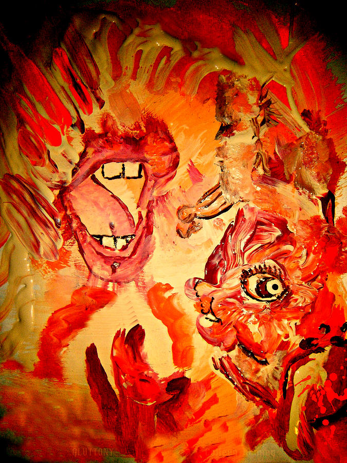 Seven Sins Painting - The Seven Sins Gluttony by Colleen Ranney
