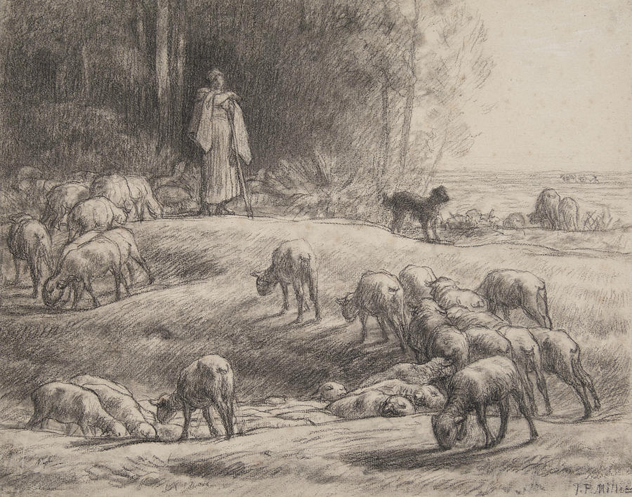 French Painters Drawing - The Shepherdess by Jean-Francois Millet