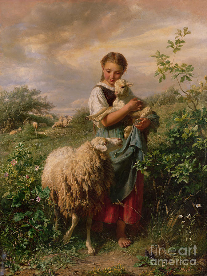 Shepherdess Painting - The Shepherdess by Johann Baptist Hofner