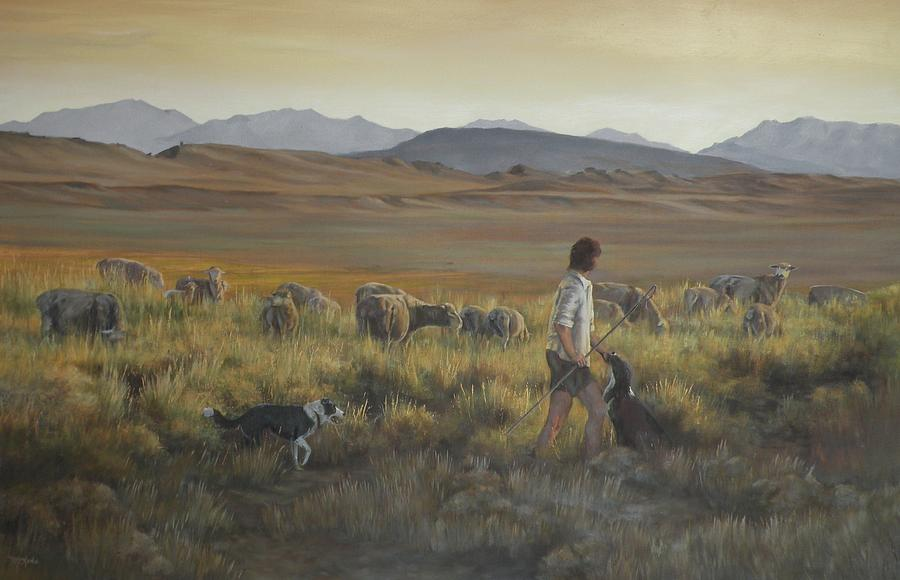 Sheep Herder Painting - The shepherdess by Mia DeLode