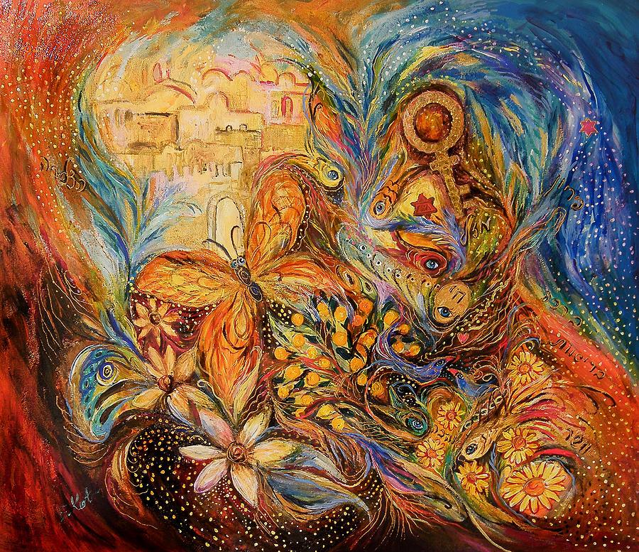 Original Painting - The Shining Of Jerusalem by Elena Kotliarker