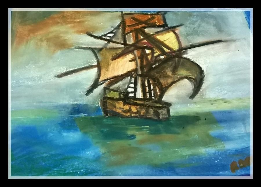 Ship Pastel - The Ship Plying On The River by Miss Ratul Banerjee