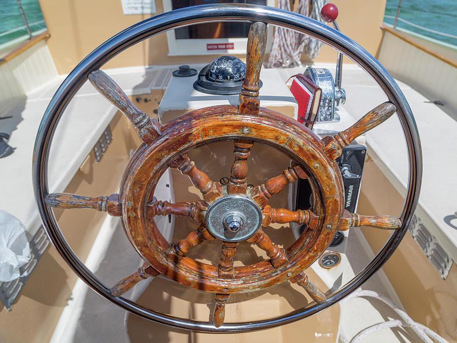 Wheel Photograph - The Ships Wheel by Betsy Knapp