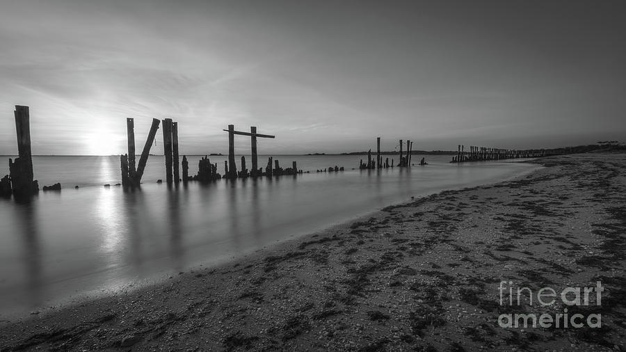 Sandy Hook Photograph - The Shoreline Bw by Michael Ver Sprill