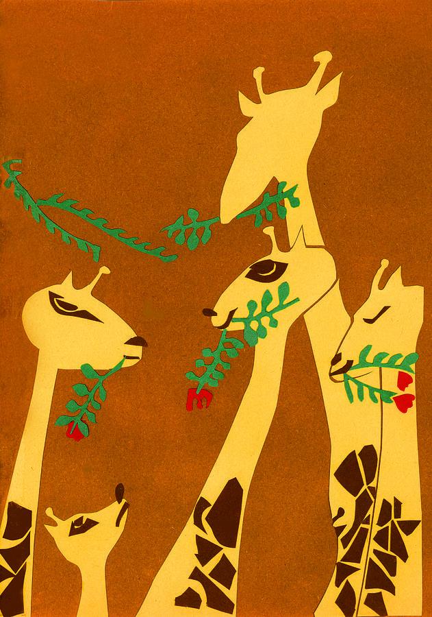 Giraffe Mixed Media - The Short Necked Giraffe 1 by Lily Hymen