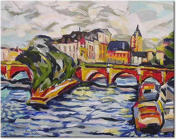 River Painting - The Siene At Pont Nuef by Nancy Rourke