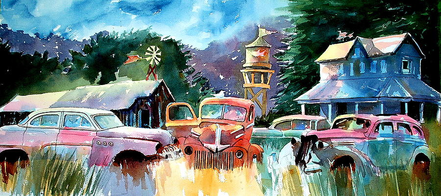 Cars Painting - The Sign Of The Fish On The Watertower by Ron  Morrison
