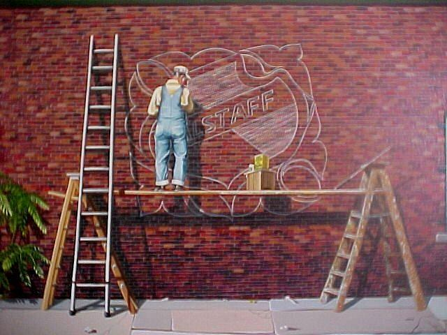 Brickwall Painting - The Sign Painter by Bobbi Baltzer-Jacobo