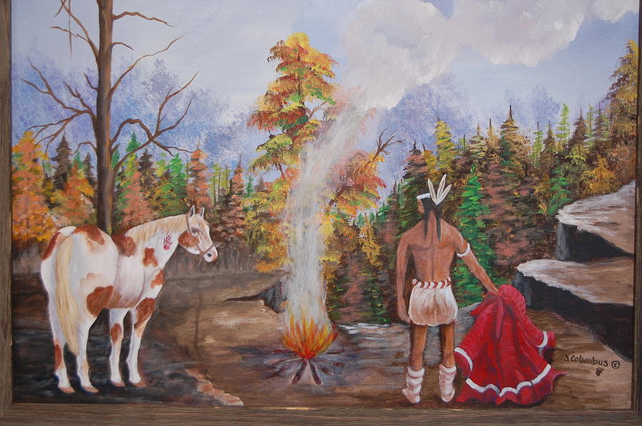 Indian Painting - The Signal by Janna Columbus