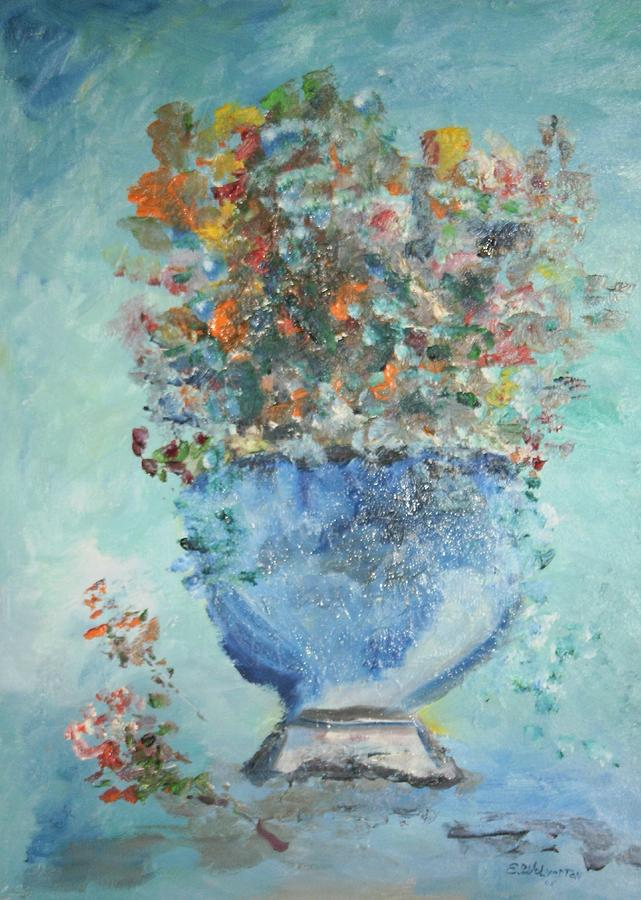 Still Life Painting - The Silver Bowl Vase by Edward Wolverton