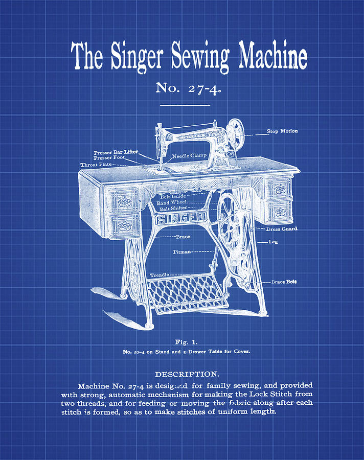 The singer sewing machine blueprint digital art by bill cannon the digital art the singer sewing machine blueprint by bill cannon malvernweather Image collections