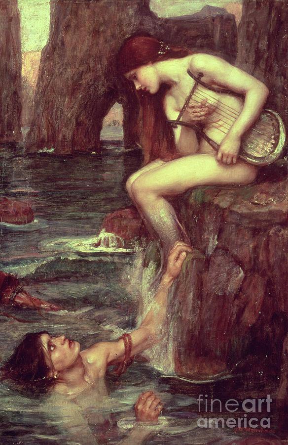 The Siren Painting - The Siren by John William Waterhouse