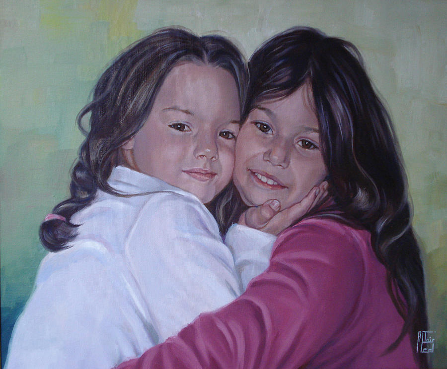 Oil Painting Painting - The Sisters by Altair Leal