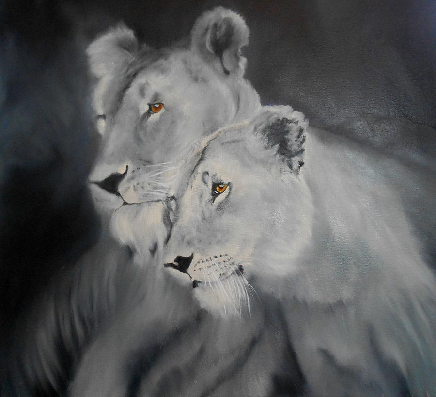 Lions Painting - The Sisters by Maris Sherwood