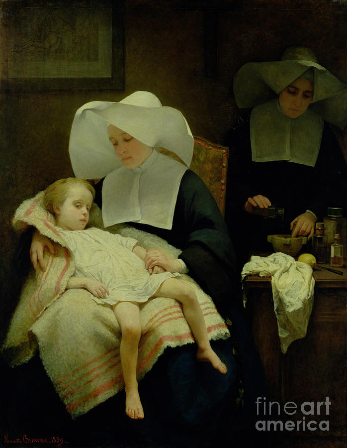 Sisters Painting - The Sisters Of Mercy by Henriette Browne