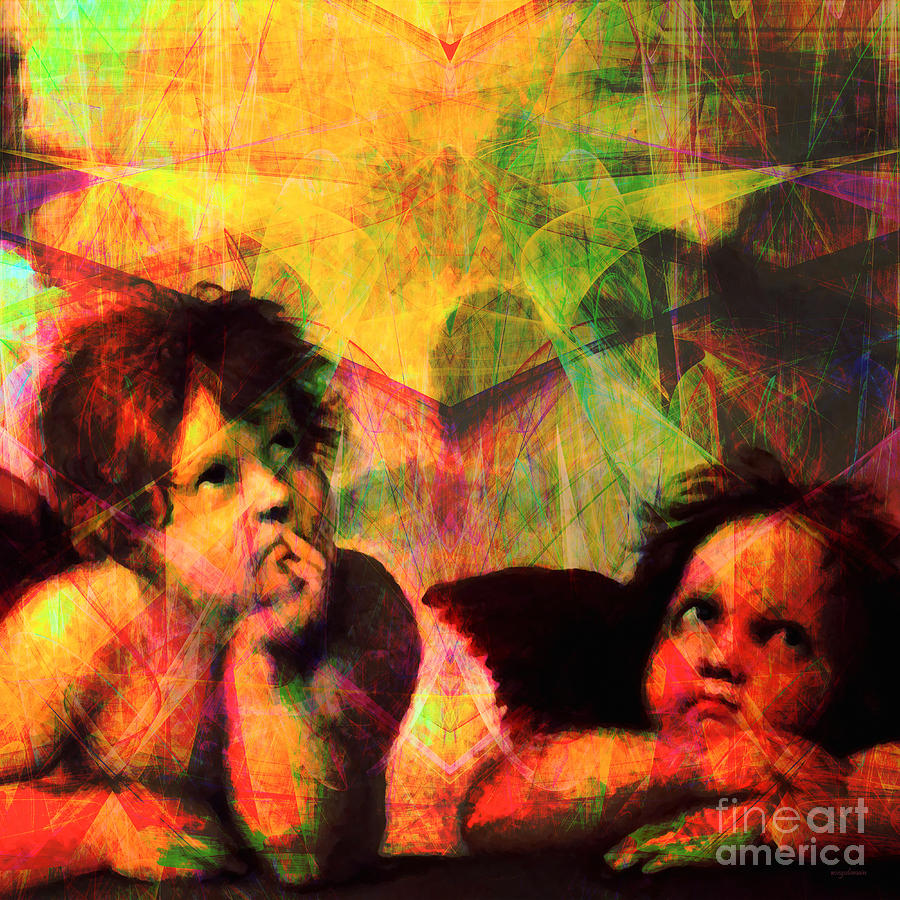 Baby Photograph - The Sistine Modonna Baby Angels In Abstract Space 20150622 Square by Wingsdomain Art and Photography