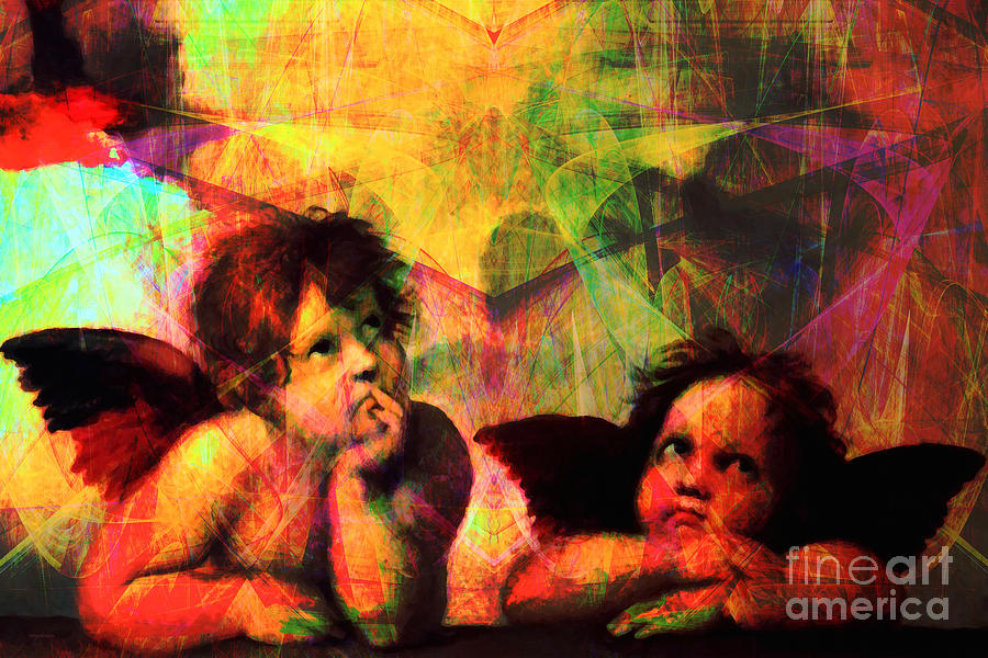 Baby Photograph - The Sistine Modonna Baby Angels In Abstract Space 20150622 by Wingsdomain Art and Photography
