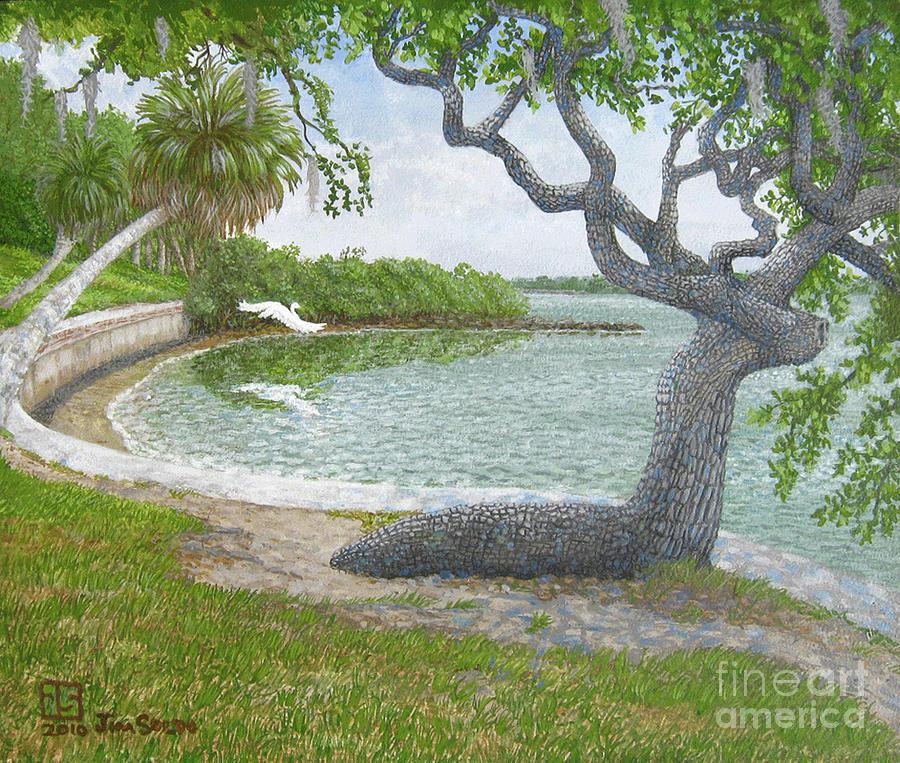 Oak Tree Painting - The Sitting Oak Tree by Jim Soldo