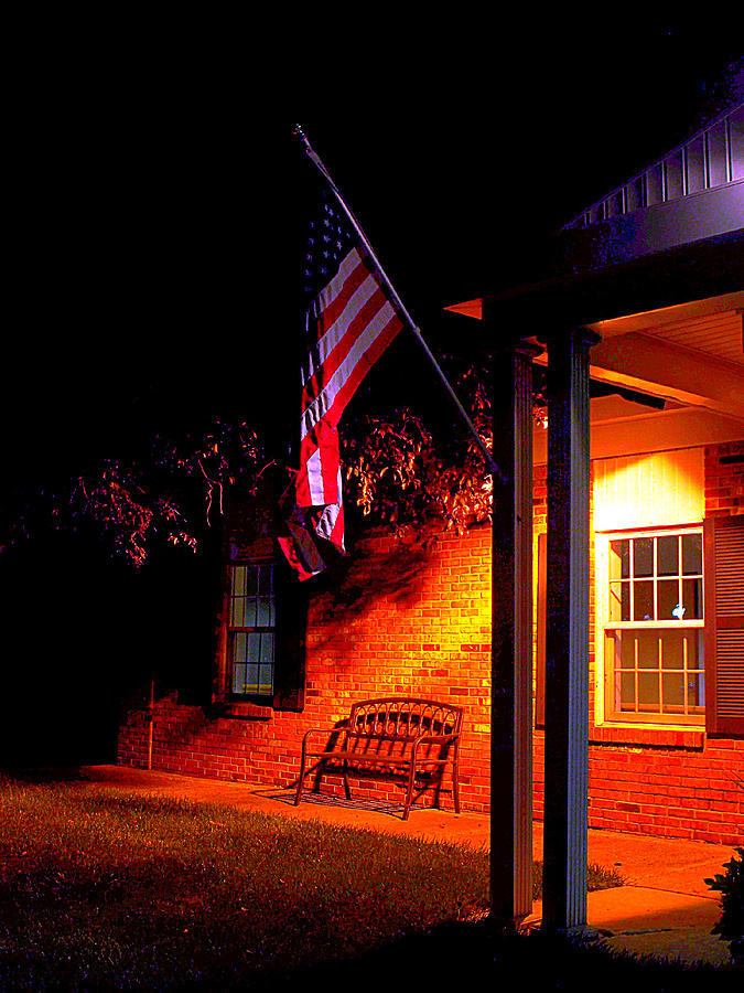 American Flag Photograph - The Skies Are Dark by Guy Ricketts