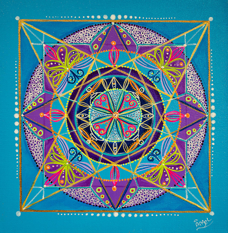 Sacred Geometry Painting - The Sky Is The Limit by Angel Fritz