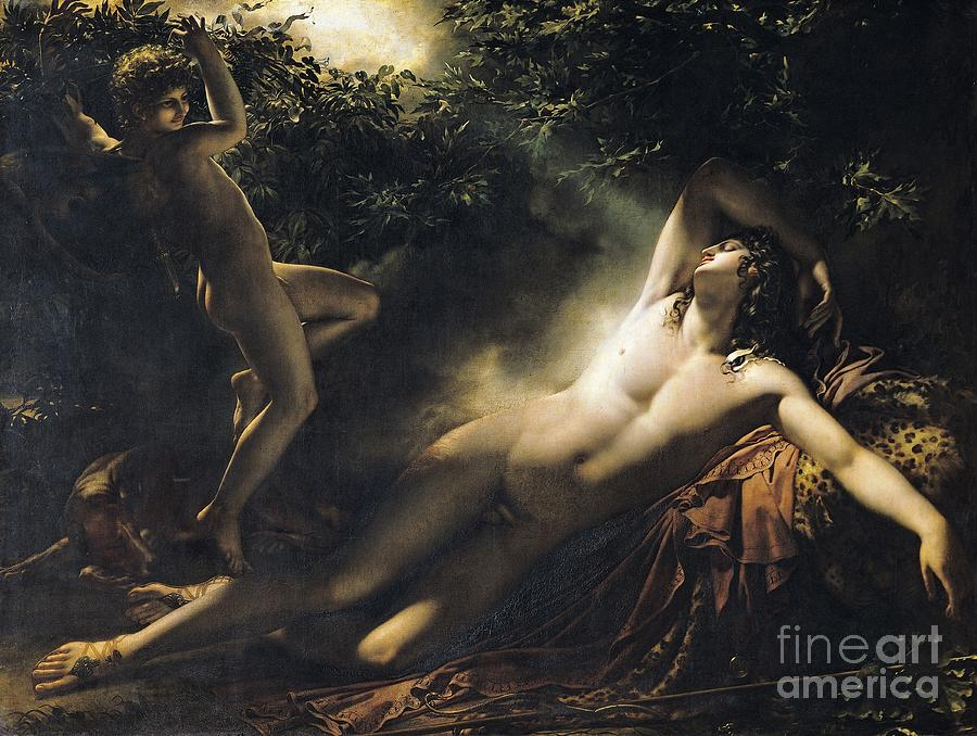 Dreaming Painting - The Sleep Of Endymion by Anne Louis Girodet de RoucyTrioson