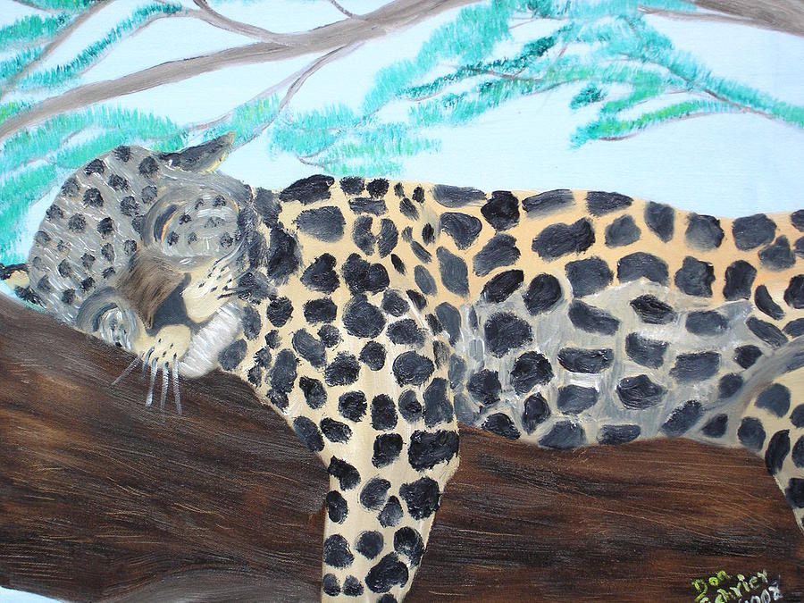 Feline Painting - The Sleeper by Donald Schrier