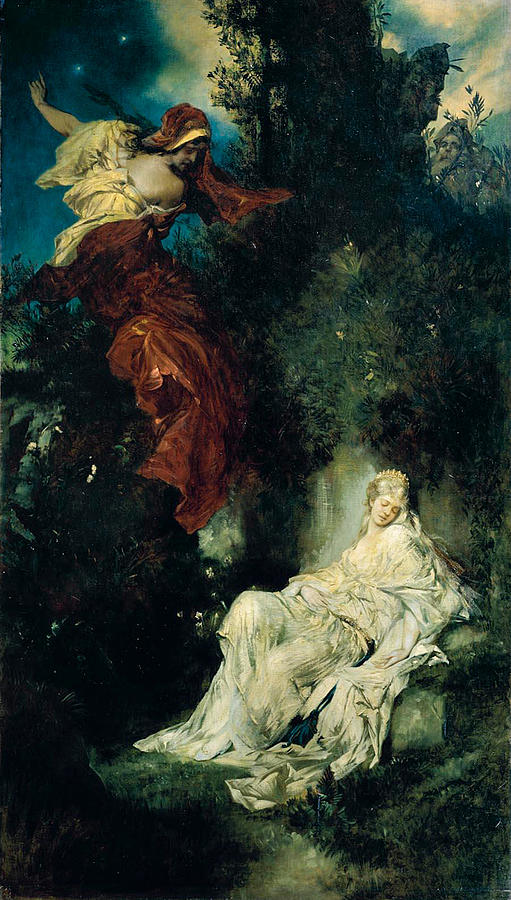 The Sleeping Snow White Painting By Hans Makart