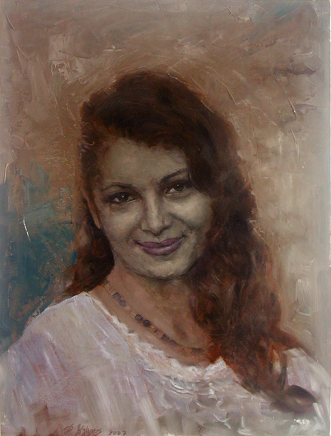 Girl Painting - The Smile by Demetrios Vlachos