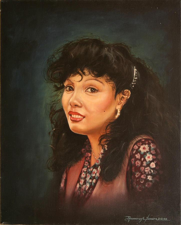 Oil Portrait Painting - The Smile by Rosencruz  Sumera