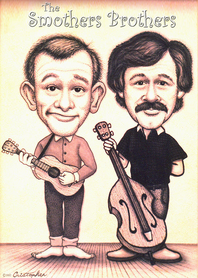The Smothers Brothers Drawing - The Smothers Brothers by Cristophers Dream Artistry