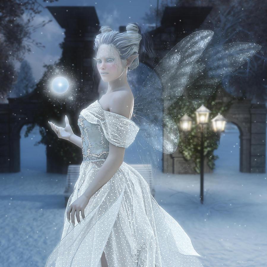 Snow Fairy Digital Art - The Snow Fairy by Melissa Krauss