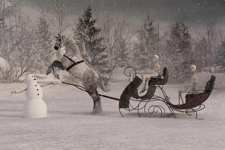 Skeleton Digital Art - The Snowman by Betsy Knapp