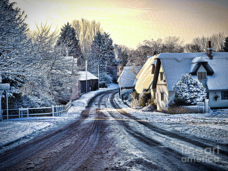Linton Photograph - The Snowy Cottages by Simon Hill