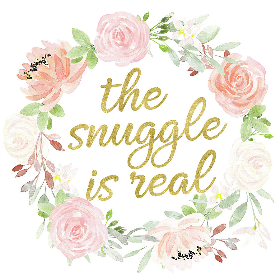 The snuggle is real wall art baby girl nursery pillow boho blush gold by pink forest cafe