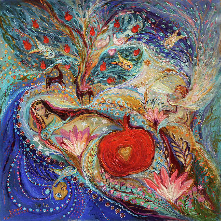 Judaica Store Painting - The Song Of Songs. Night by Elena Kotliarker