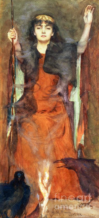 Witch; Crow; Enchantress; Magic; Weaving A Spell; Smoke; Curse; Woman Painting - The Sorceress by Henry Meynell Rheam