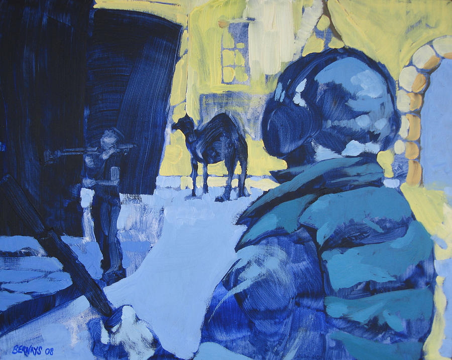 Camel Film Set Blue Yellow Landscape Painting Realistic Painting - the Sound Man and the Camel by Amy Bernays