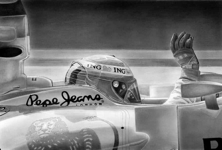 Fernando Alonso Circa 2009. Drawing - The Spaniard by Lyle Brown