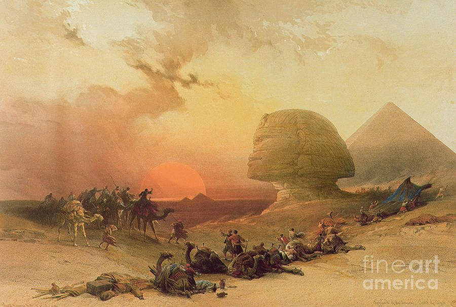 The Sphinx At Giza (colour Litho) By David Roberts (1796-1864) Painting - The Sphinx At Giza by David Roberts