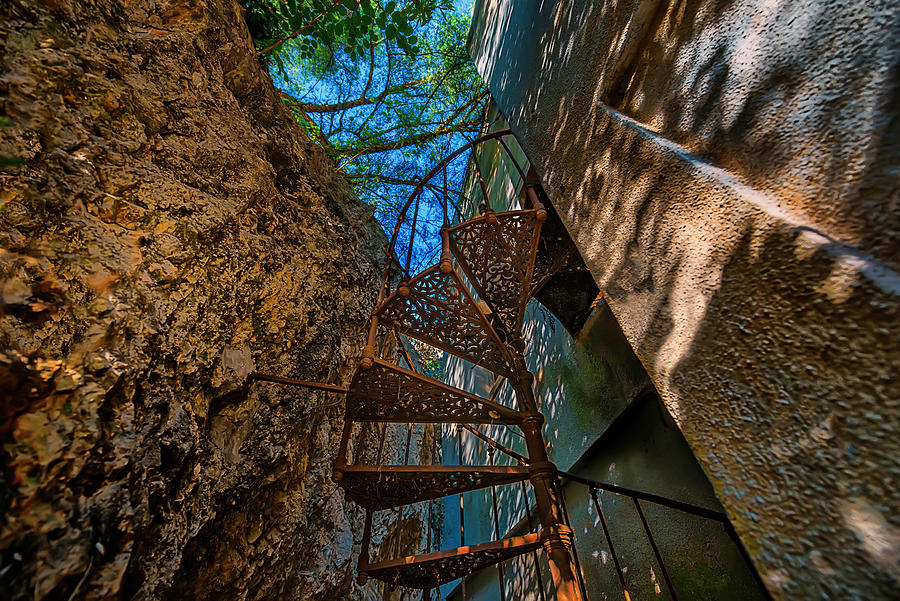 Abandoned Places Photograph - The Spiral Staircase Of The Abbandoned Children Summer Vacation Building - La Scala A Chiocciola Del by Enrico Pelos