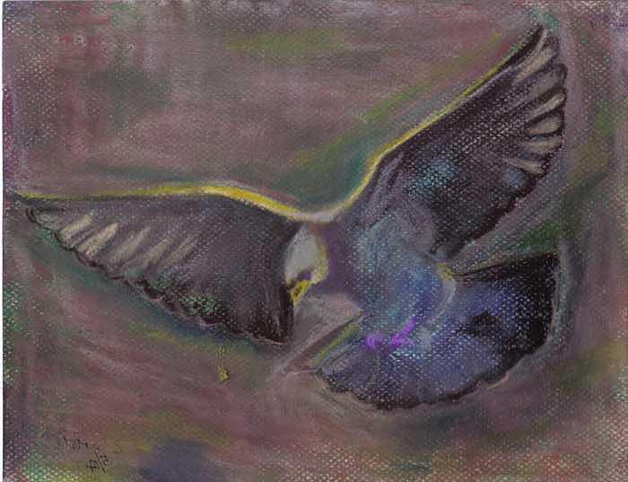 Dove Painting - The Spirit Descending by Elizabeth Sartell-Beamer