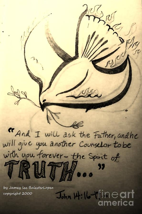 Christian Symbolism Drawing - The Spirit Of Truth by Jamey Balester