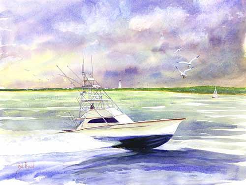 Sportfishing Painting - The Sportfisher by Bob Pittman