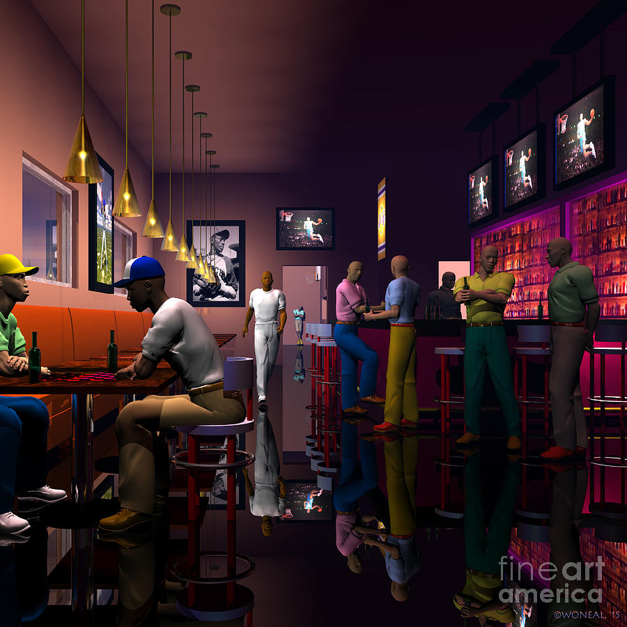 Male Portraits Digital Art - The Sports Bar by Walter Oliver Neal
