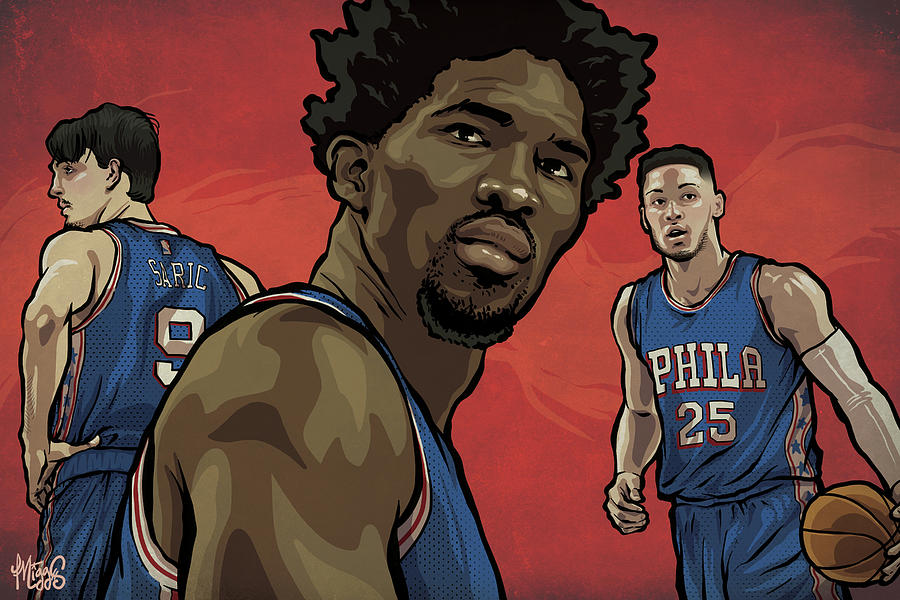 Sixers Drawing - The Squad by Miggs The Artist