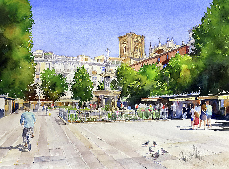 Granada Painting - The Square In Summer by Margaret Merry