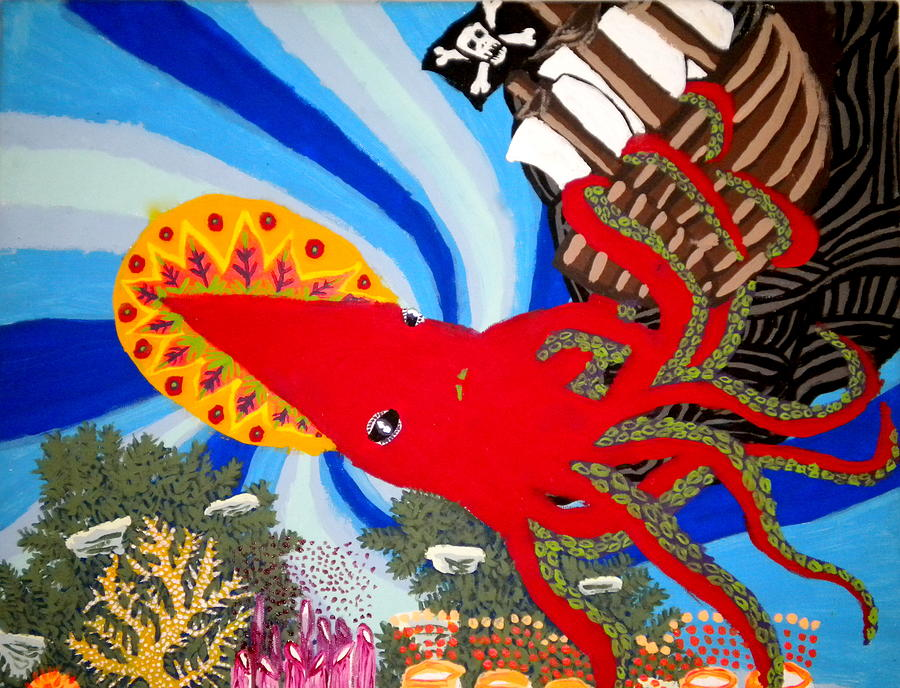 Squid Painting - The Squid And The Pirate Ship by Nick Reaves