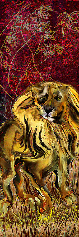 Lion Painting - The Squinting Lion by Anne Weirich