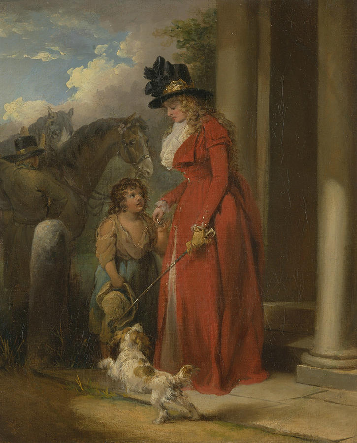 English Painters Painting - The Squires Door by George Morland
